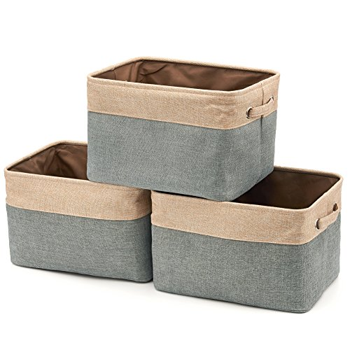 Collapsible Storage Bin Basket 3-Pack EZOWare Foldable Canvas Fabric Tweed Storage Cube Bin Set With Handles - Brown  Gray For Home Office Closet