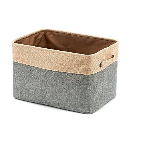 Homcomoda Storage Basket Bins Jute Collapsible Cube Storage Container with Handles for Clothes StorageToy OrganizerNurseriesOffices and Everyday Storage NeedsGrey
