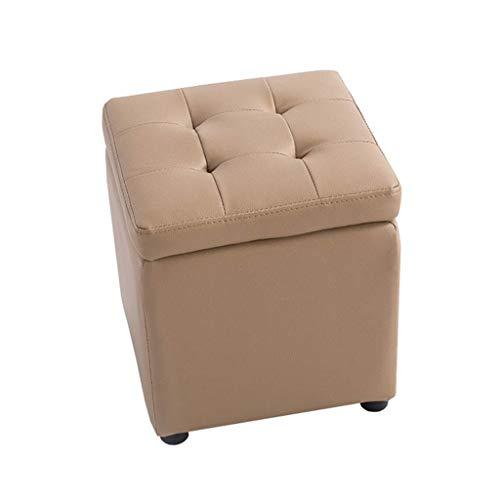 Mscxj Ottomans Multiple Storage Applications Elegant Design Screams Style Elastic Sponge Filling PVC Shoe Chest Toy Box Portable Picnic Seat Size  34X34X36CM