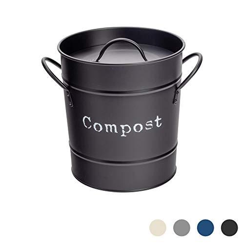 Harbour Housewares Industrial Compost Bin - Vintage Style Steel Kitchen Storage Bucket - Removable Inner - Black