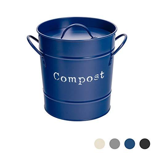 Harbour Housewares Industrial Compost Bin - Vintage Style Steel Kitchen Storage Bucket - Removable Inner - Navy