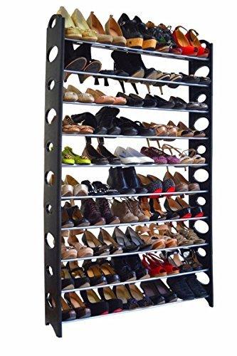 50 Pair Free Standing 10 Tier Shoe Tower Rack Organizer Space Saving Shoe Rack by Sawan Shop