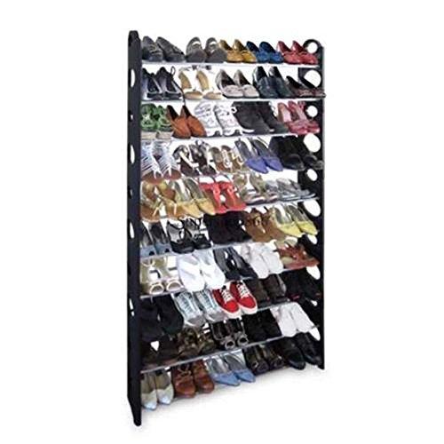 Corgy 50 Pair Shoe Rack Free Standing Storage Organizer 10 Tier Portable Folding Shoe Shelf Space Saving Shoe Rack US Stock