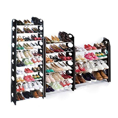 Eshion 10 Tier Portable Folding 50 Pair Shoe Tower Rack Free Standing Organizer Space Saving Shoe RackUS STOCK 30 Pairs Black