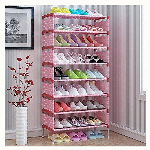 MAXGOODS Shoe Tower Rack with Cover 27-Pair Space Saving Shoe Storage Organizer Pink