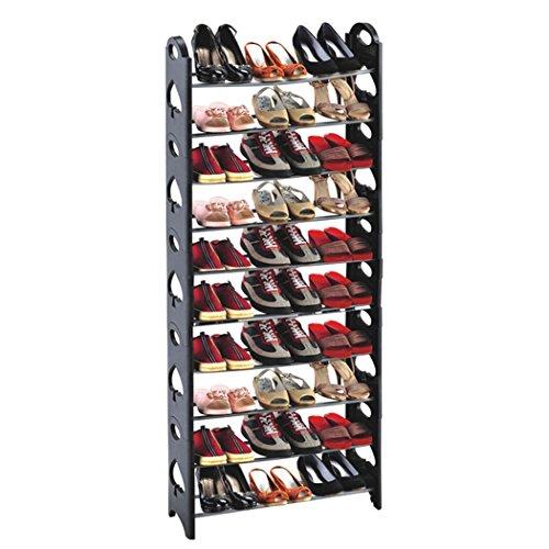 Wakrays 10 Tier Portable Folding 50 Pair Shoe Tower Rack Free Standing Organizer Space Saving Shoe Rack 30pairs Black