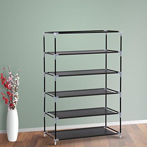 Kinbor 24 Portable 5 Tier Shoe Rack Shelf Storage Closet Organizer Cabinet wCover Dark Coffee