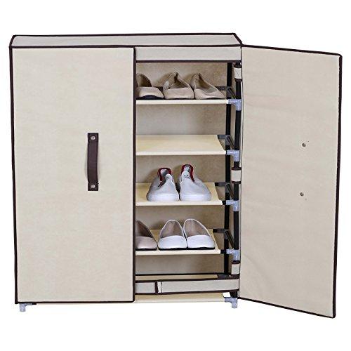 WOLTU 6 Tiers Portable Shoe Rack with Dustproof Cover Closet Shoe Storage Cabinet Organizer Beige
