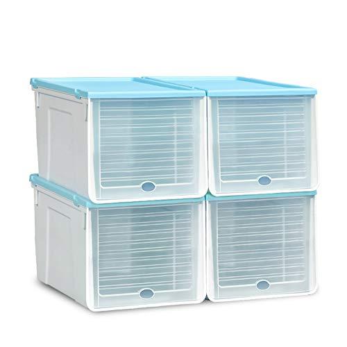XIAOMEI Transparent Plastic Shoe Box SetDoor Shoe Storage Organizer Stackable Shoe Rack Shelf Tower Container Closet 4 Pack-Blue Large