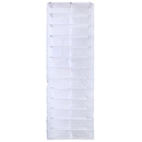Yardwe 26 Pockets Over The Door Shoe Storage Hanging Organizer Shoe Racks Wardrobes Storage Space Saver Bag White