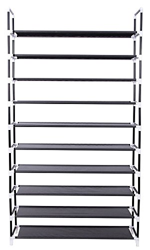 10-Tier Shoe Rack Shoe Tower Shelf Storage Organizer Cabinet Grey