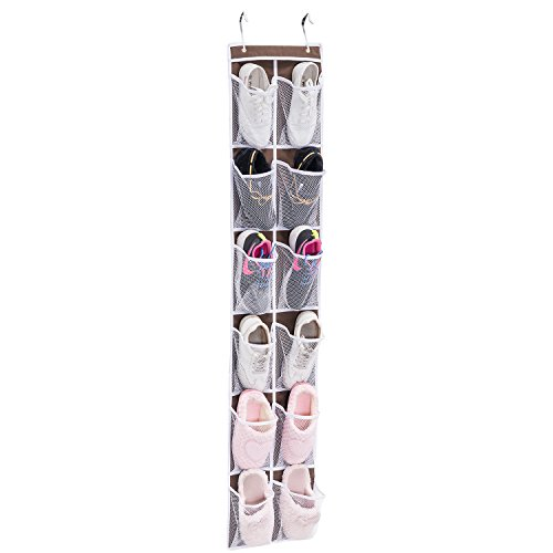 Over the Door Shoe Organizer MaidMAX 12 Pockets Single-sided Hanging Shoe Organizer Storage Rack with Hooks 12W x58H Brown