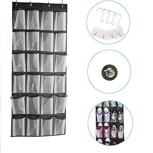 24 Pockets Large Clear Pockets Over The Door Hanging Shoe Organizer Black