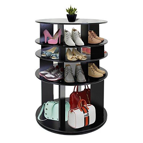 JERRY MAGGIE - Rotated Shoe Rack Shelf Table Shoe Organizer MDF Wood Like Shelf Free Standing Flat Shoe Racks Modern Fashion Design Style - 4 Tier Multi Function Multi Heights Shelf System - Black