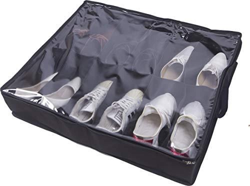Amelitory Underbed Shoe Storage Bag 12 Cell Under Bed Shoe Organizer Large Size Fabric Black