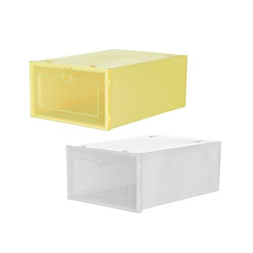 Fescra Large Shoe Organizer - Stackable Shoe Racks for Shoe Storage Cabinet - 2 Pcs Remix Color Plastic Foldable Clear Shoes Storage Box - Cube Storage Bins for Sneakers
