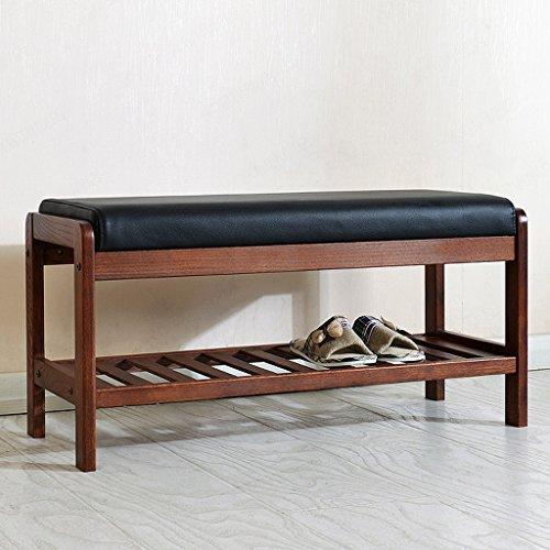 ZHEN GUO SHELF Solid Oak Wood Shoe Bench With Black Imitation Leather Cushion And Storage Shelf Shoe Rack Organizer Entrywayhallwaybedroom Claret Color Size  Large