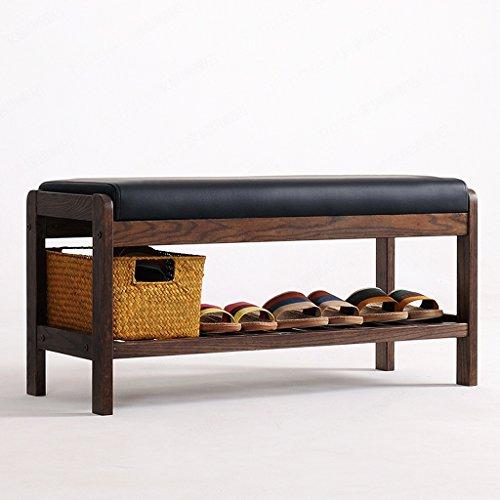 ZHEN GUO SHELF Solid Oak Wood Shoe Bench With Black Imitation Leather Cushion And Storage Shelf Shoe Rack Organizer Entrywayhallwaybedroom Espresso Finish Size  Large