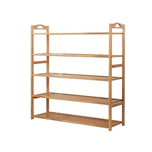 ZXL Small to Large Shoe Organizer Racks with Armrest Bamboo Storage Organizer Shelf for Kitchen Unit Entryway Size  5 Tiers