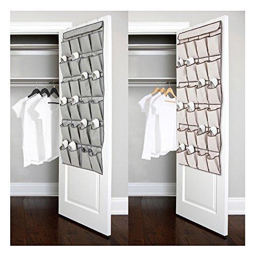 Vanki 1 pc 24 Pockets Over the Door Shoe Organizer Hanging Shoe Storage Bag with 4 Metal HangersBeige