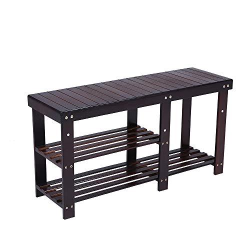 KKTONER Bamboo Shoe Rack Bench 3 Tier Entryway Shoe Storage Organizer Shelf Dark Brown