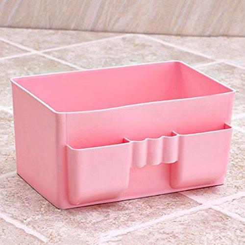 1 Pcs 4 Slots Desktop Storage Boxs Case Organizer Container Oragnizer Pen Pencil Holder Plastic Cosmetics Make Up 115x10x19cm Pink