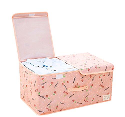 NAGU Storage Closet Organizer Foldable Storage BagClothes Blanket Sweater Organizer Box Charcoal Pink