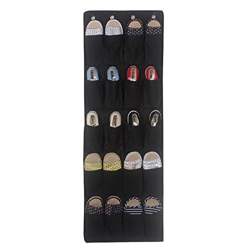 C360 Over the Door Hanging Shoe Organizer Shoe Rack Shelf Hanger Holder Storage Bag With Pocket Black