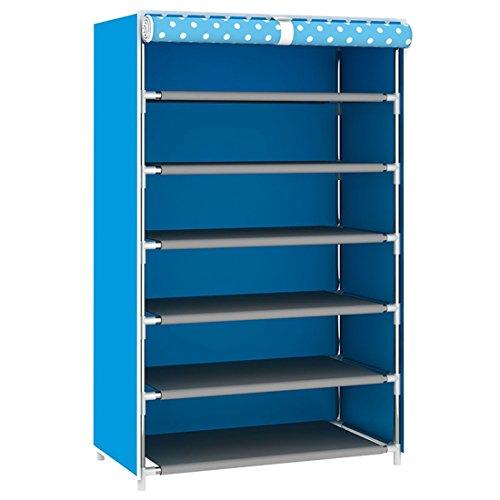 Jiyaru 6 Tiers Shoe Rack with Dustproof Cover Shelf Storage Cabinet Organizer Blue