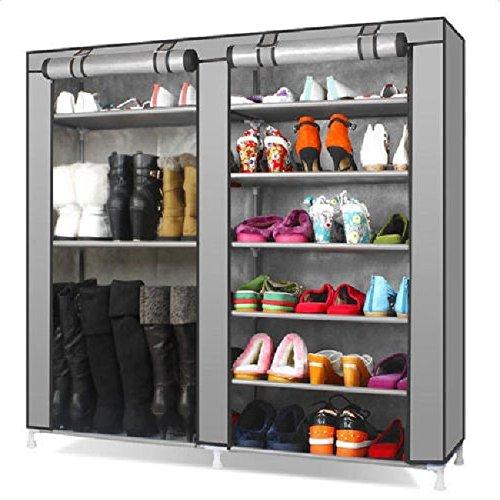 New Portable Double Shoe Rack Closet Shelf Storage Organizer Cabinet 9 LayerGray Color