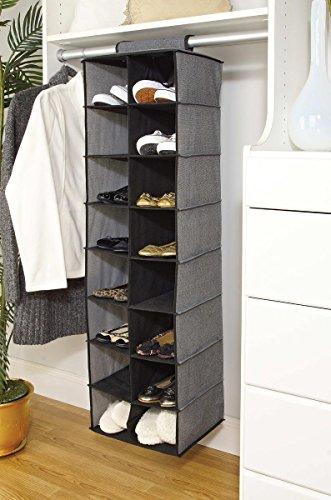 16-Pocket Shoe Organizer in Grey