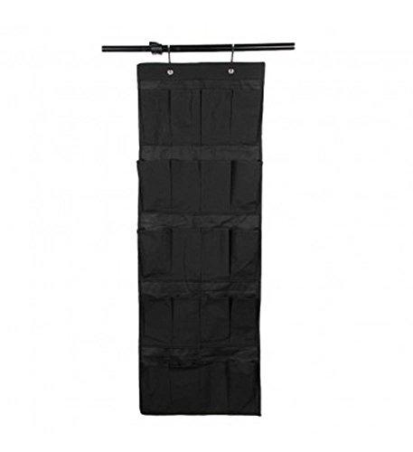 Dealglad New 20 Pockets Space Saver Over the Door Shoe Organizer Collection Hanging Storage Bag Black