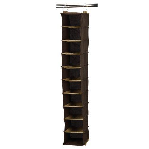 Household Essentials 66032 Hanging Shoe Storage Organizer for Closets  10 pocket  Coffee Linen