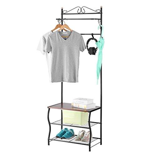 LANGRIA Heavy Duty Coat Rack Hall Tree Storage Shoe Rack Bench1 Hanger Bar with 5 Hooks for Hallway Bedroom Black