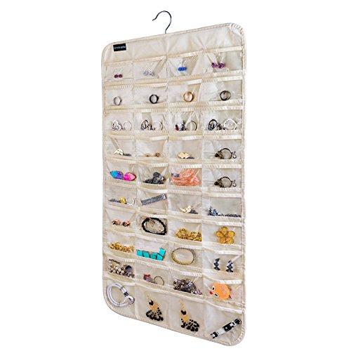 Hanging Jewelry OrganizerAccessories OrganizerNatural Canvas Ultra 80 Pocket Organizer For Holding JewelriesBeige