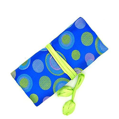 Jewelry RollTravel Jewelry Roll BagSilk Embroidery Brocade Jewelry Organizer Case with Tie CloseBlue Polka Dot