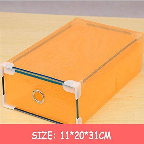 Clear Foldable Shoe Storage Boxes Shoe Storage Top Boxes Container for Closet Organizer 5 Pcs Women Orange