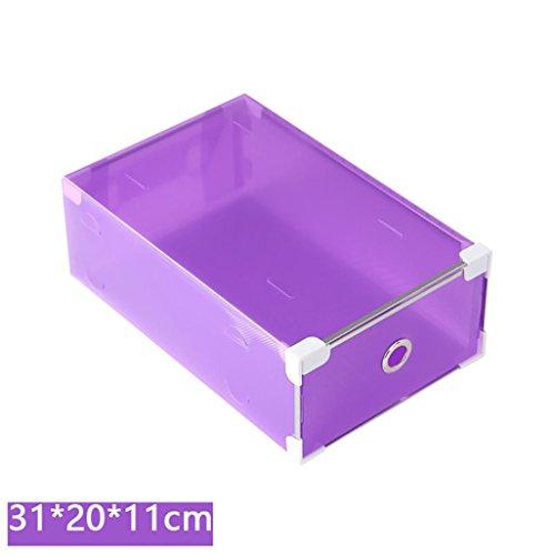 Lotusflower Men Women Foldable Clear Plastic Shoe Box Container For Closet Drawer Stackable Storage Organiser Non-toxic 31x20x11cm Purple
