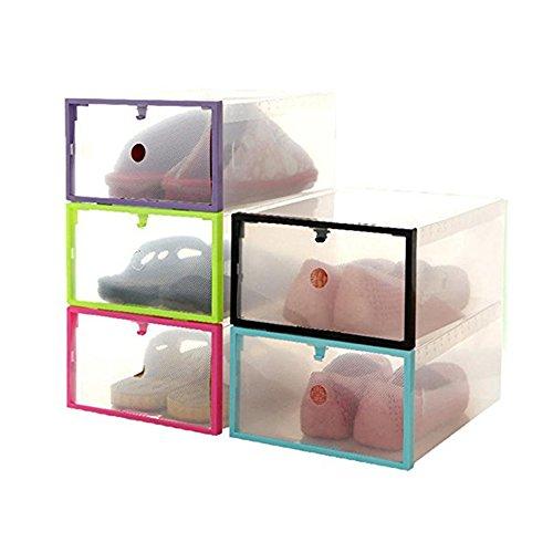 Shoe StorageFoutou Foldable Stackable Clear Plastic Drawer Case Organizer Box Holder Shoe Storage