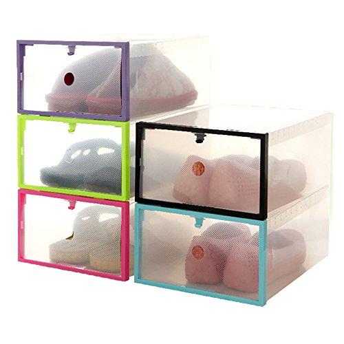 Shoe StorageFunfunman Foldable Stackable Clear Plastic Drawer Case Organizer Box Holder Shoe Storage