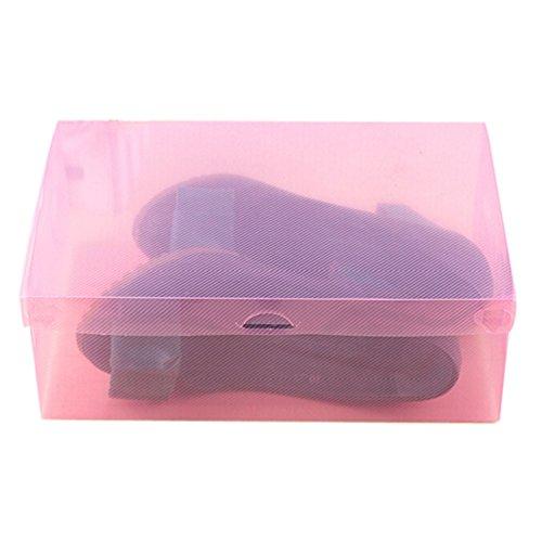 VESNIBA 1PC Foldable Clear Shoes Storage Box Plastic Stackable Shoe Organizer 275cmLx185cmwx95cmH Pink