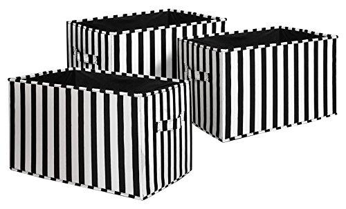 Lush Decor Stripe Fabric Covered 3 Piece Collapsible Storage Box Set 16 x 12 x 10 BlackWhite