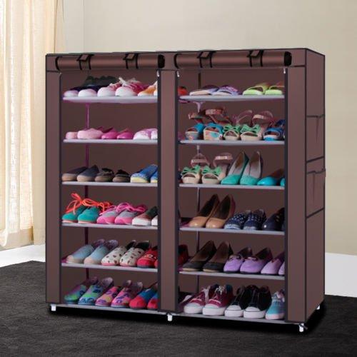 6 Layer 12 Grid With Cover Home Shoe Rack Shelf Storage Closet Organizer CabinetCoffee