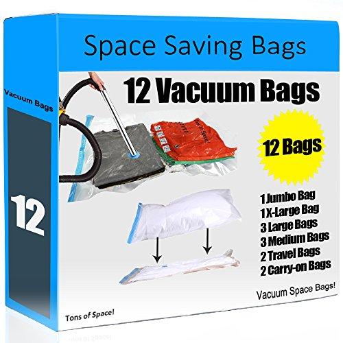 12 Space Saver Vacuum Storage Bags - Super Value Pack Space saving bags like Ziploc Vacuum Seal bags - Tons of Space