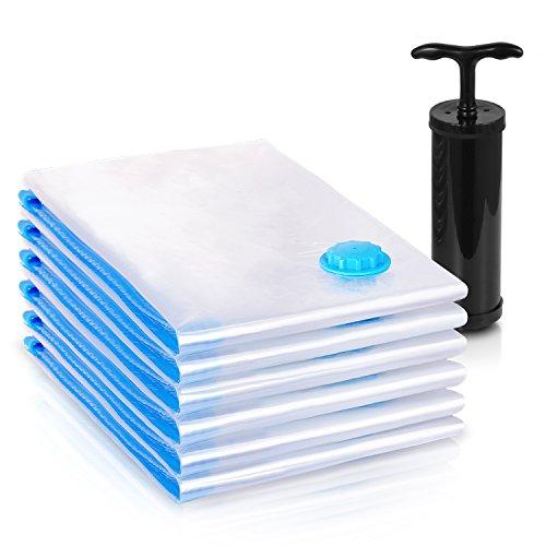 Adoric Space Saver Bags 6 Pack Jumbo Vacuum Storage Bags with Travel Vacuum hand pump