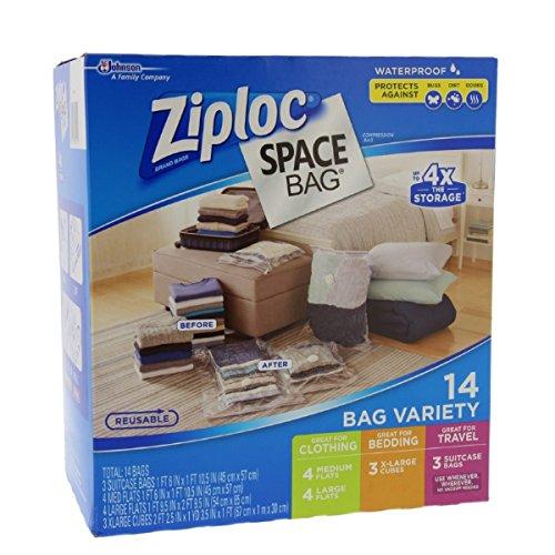 Ziploc Space Bag 14 Bag Variety - 14pc 4-M 4-L 3-XL Cubes 3-Trvl