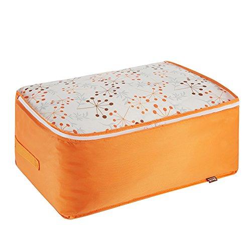 MrDakai Oxford Fabric Clothes Storage Bag with Zipper and Handle Waterproof Foldable Wardrobe Organizer Blanket ComfortersToys Laundry Storage Bags L Orange