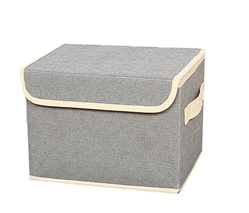 Bonaweite Canvas Fabric Storage Boxes Basket with Strong Cotton Rope Handle
