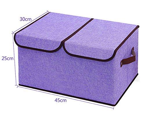 Foldable Hosehold Essentials Fabric Storage Box Organizer Bin Double Cover purple