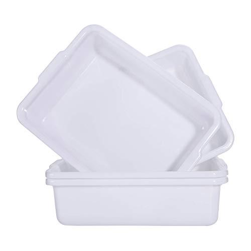 Commercial Bus Tub 4-Pack Plastic Bus BoxTote Box 13 Liter Plastic Storage Bin with HandlesWash Basin TubStorage Basin White